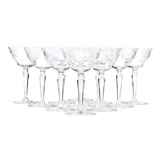 1950s Floral Etched Glass Coupes - Set of 11