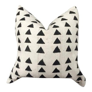 Vintage African White Mud Cloth Pillow Cover