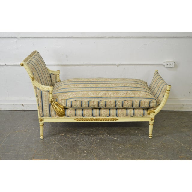 Meyer Gunther Martini French Louis XVI Swan Carved Painted Recamier Chaise Lounge - Image 9 of 10