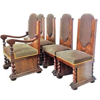 Walnut & Mahogany Dining Chairs - Set of 5