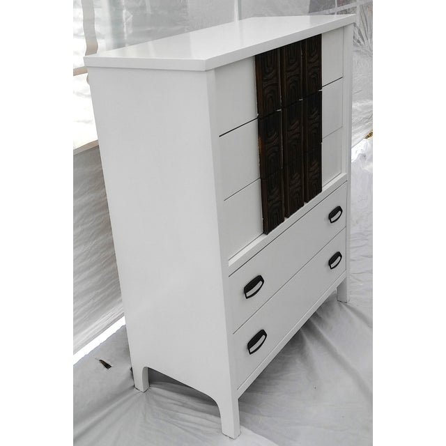 White Lacquered Mid-Century Modern Tall Dresser - Image 4 of 9