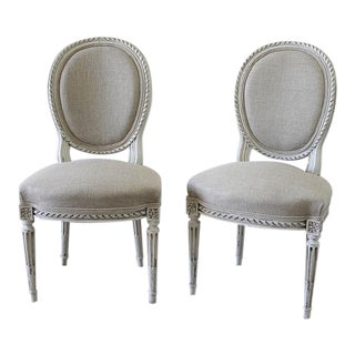 Late 19th Century Carved Louis XVI Side Chairs - A Pair
