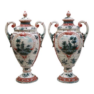 19th Century French Hand-Painted Lidded Vases - A Pair