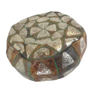 Vintage Bohemian Gold Stamped Hassock Footstool