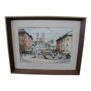 Vintage Mid-Century European Watercolor Painting Italian Plaza