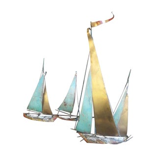Curtis Jere Metal Sailboat Sculpture