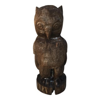 """Wise Old Owl"" Folk Art Sculpture"