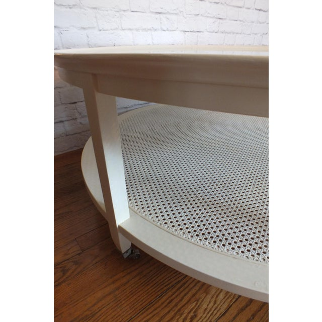 Mid-Century Round White Caned Coffee Table - Image 8 of 11