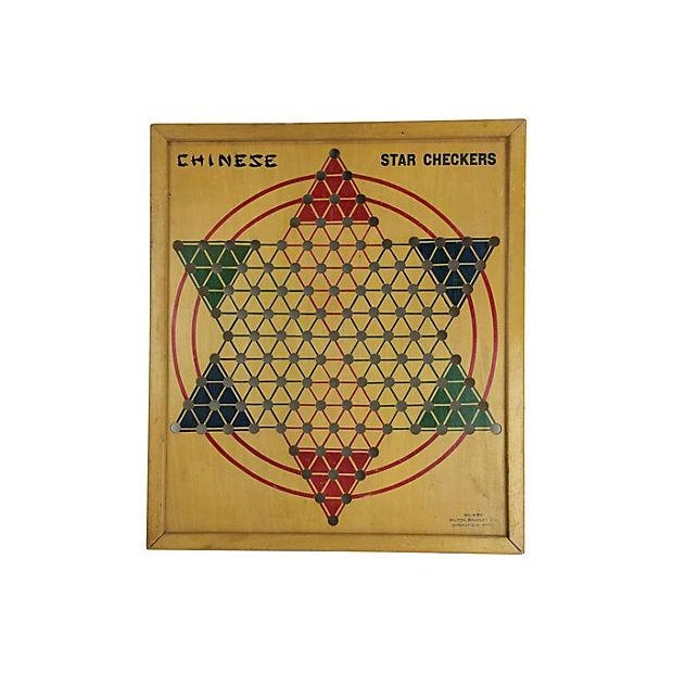 Milton Bradley 1940s Wood Chinese Checker Board - Image 1 of 3