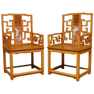 Chinese Ming Style Armchairs with Dali Marble Inset - A Pair