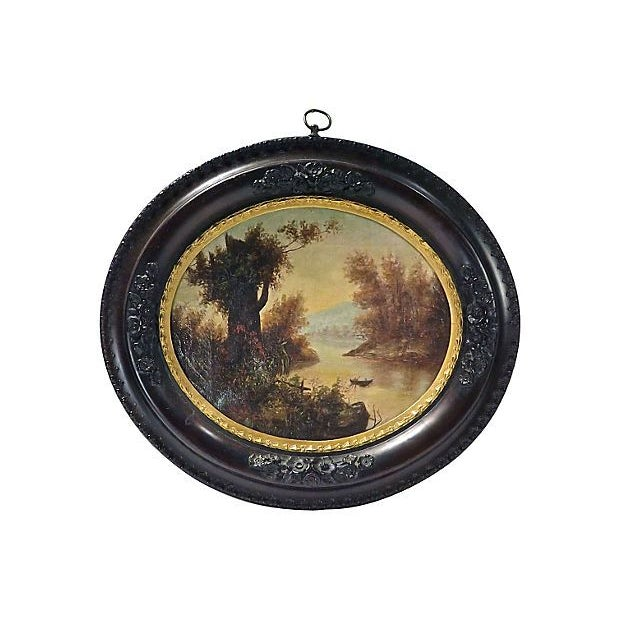 Image of Antique Oval Lake Scene Oil Painting