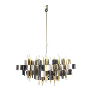 1960s Italian Gaetano Sciolari Brass, Chrome and Lucite Chandelier