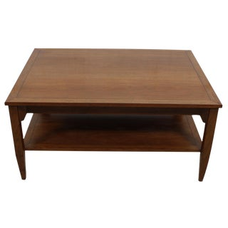 Michael Taylor for Baker Walnut Coffee Table With Shelf