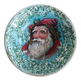 Folk Art Father Christmas Painted Wooden Bowl