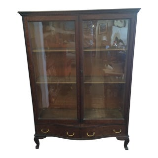 Vintage Amp Used Brown China And Display Cabinets
