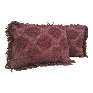 Burgundy Damask Velvet Pillows - Pair