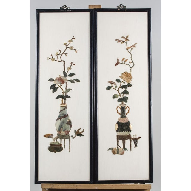 Vintage Chinese Hard Stone Wall Sculpture Panels - Set (4) - Image 3 of 3