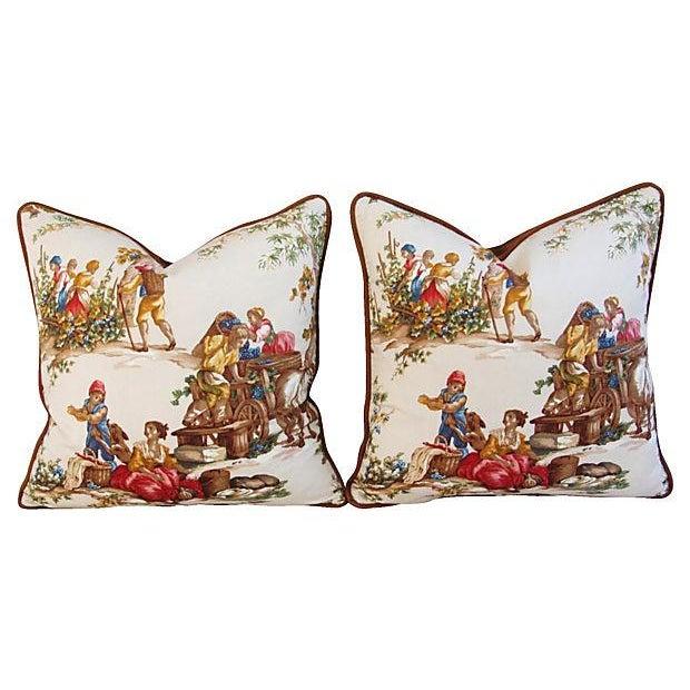 Designer Kravet Guinevere Wine Toile Pillows -Pair - Image 6 of 7