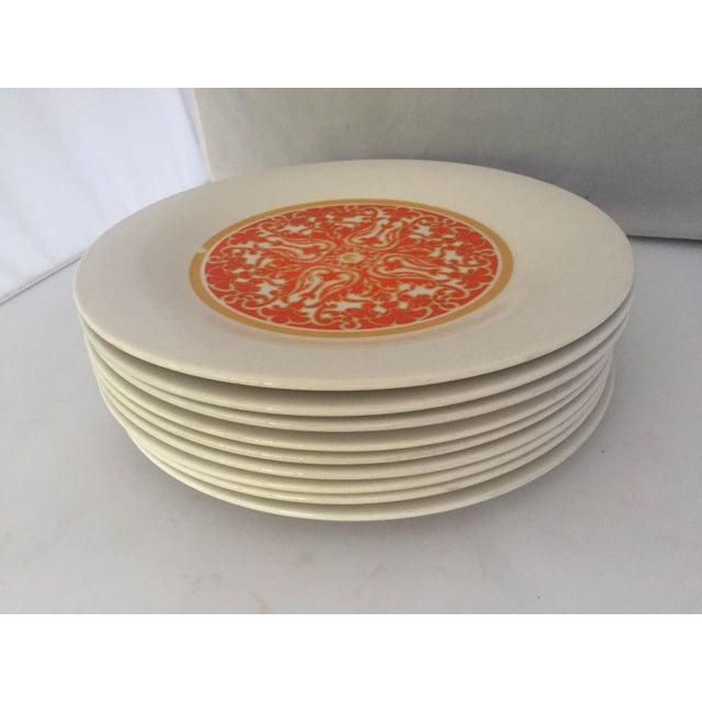 1970's Royal Doulton Orange Flower Dinner Plates S/9 - Image 5 of 9