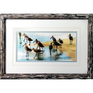 Framed Shoreline Sandpipers Watercolor Print