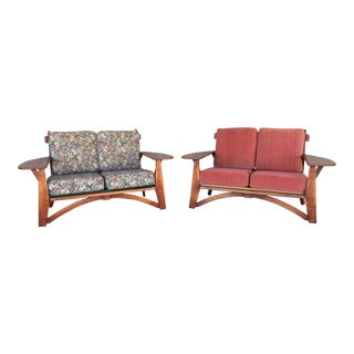 Paddle Arm Loveseats - A Pair