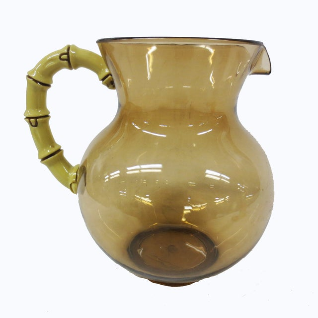 Mid-Century Lucite & Faux Bamboo Pitcher - Image 2 of 7
