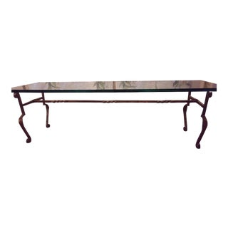 Glass & Wrought Iron Gilded Coffee Table