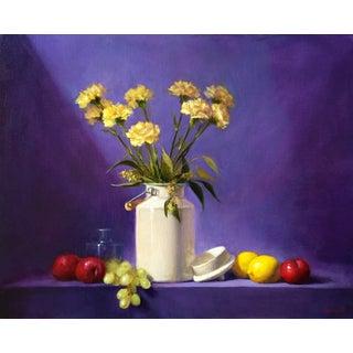 Yellow & Purple Still Life Oil Painting