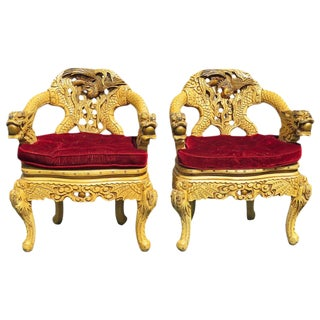 Asian Style Carved Armchairs - A Pair