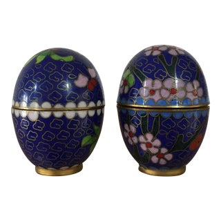 Vintage Petite Cloisonne Egg Jars - A Pair