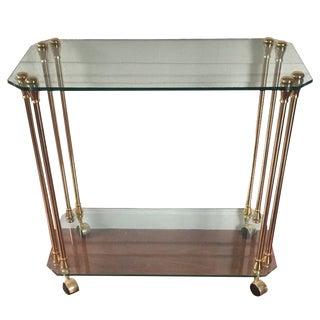 Hollywood Regency Brass Glass Serving Bar