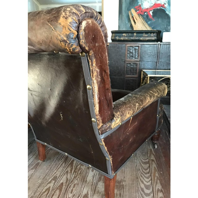 Old, Distressed Leather Club Chair - Image 6 of 10