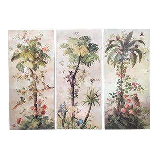 Vintage Hollywood Regency Tropical Scene Triptych