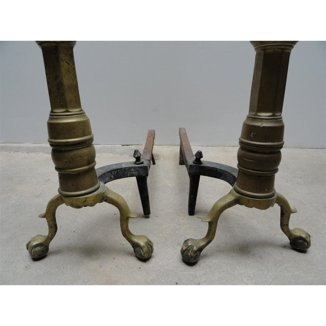 Antique Brass & Iron Andirons - A Pair - Image 4 of 8