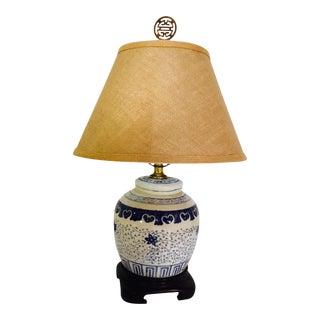 Vintage Asian Blue & White Porcelain Table Lamp