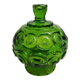 Vintage Green Glass Candy Jar