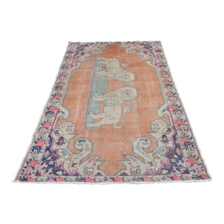 Vintage Hand-Knotted Oushak Wool Rug with Lions - 4′5″ × 6′10″
