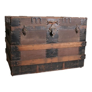 Vintage Victorian Rustic Brown Wood Steamer Trunk