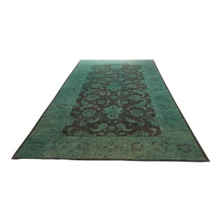 "Pakistan Teal Dyed Wool Area Rug - 17'3"" X 9'9"""