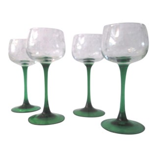Emerald Green Harp & Clover Wine Glasses - Set of 4