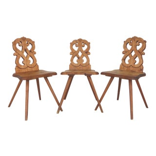 1920's Bavarian Country Pine Chairs - Set of 3