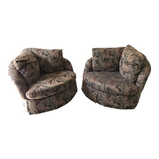 Thayer Coggin Swivel Tilt Barrel Armchairs - A Pair