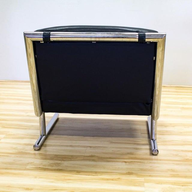 Tubular Chrome & Navy Vinyl Club Chair - Image 6 of 8