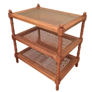 Edward Ferrell Three-Tiered Caned Side Table