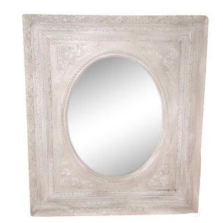 19th-C. Oval Mottled Glass Mirror