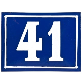 "Large Vintage French ""41"" Enamel House Number"