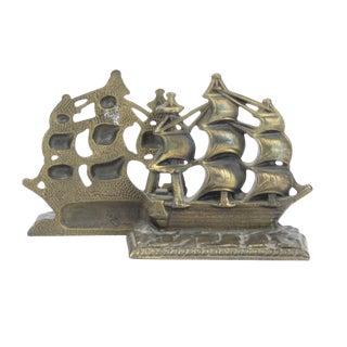 Bronze Ship Bookends- A Pair