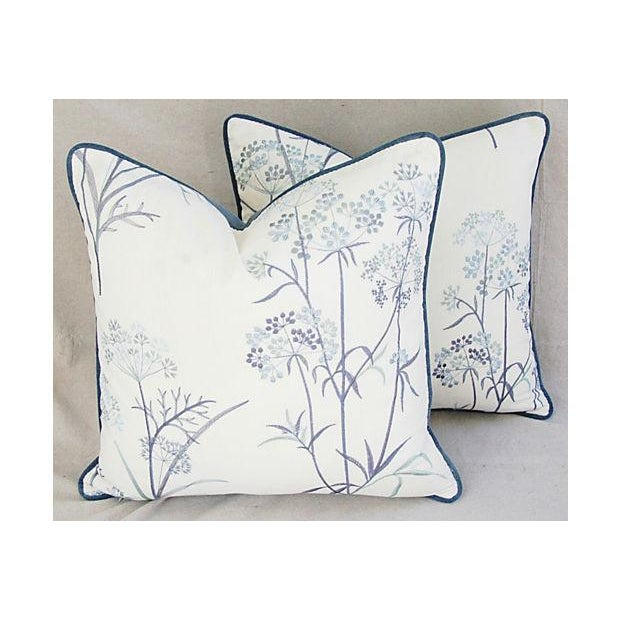 Designer Embroidered Blue Flower Pillows - A Pair - Image 2 of 8
