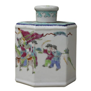 Chinese Warrior Victory Porcelain Tea Jar