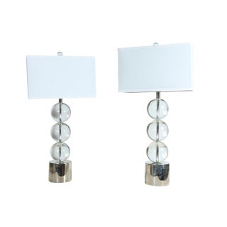 Modern Glass Bauble Lamps - A Pair